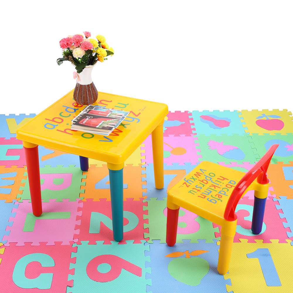 Hot Children Kids Learning Planner Table  Activity Alphabet Children Learn Table and Chair Set Table Home Decorate