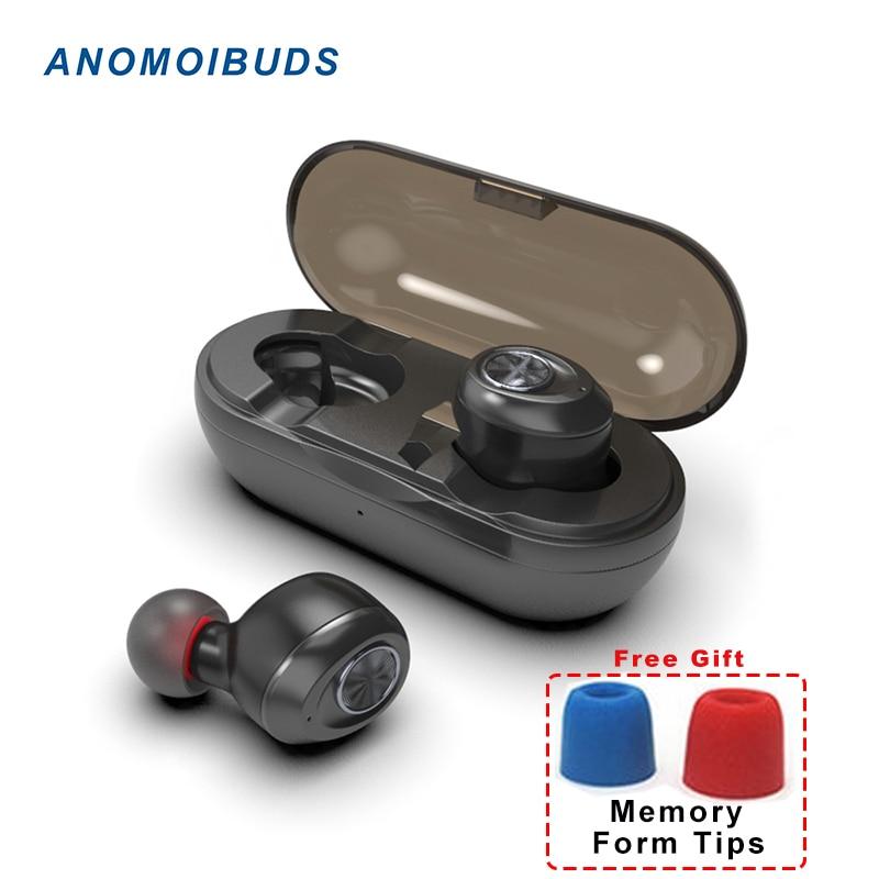 Anomoibuds Capsule TWS Draadloze Oordopjes V5.0 Bluetooth Oortelefoon Headset Diepe Bas Stereo Geluid Sport Oortelefoon Voor Samsung Iphone