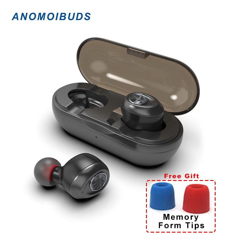 Anomoibuds cápsula TWS inalámbrica auriculares V5.0 auricular Bluetooth auriculares Bass profundo sonido estéreo deporte del auricular para Samsung Iphone