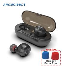 Anomoibuds kapsułka TWS Wireless earbuds V 5 0 Bluetooth słuchawki słuchawkowe głęboki bas stereo Sound Sport słuchawki dla Samsung iPhone tanie tanio Bezprzewodowy Na telefon komórkowy do gry wideo Słuchawki HiFi iPod Sport Brak 20-22000Hz IP010-A ANOMOIPTY 90dB Douszne