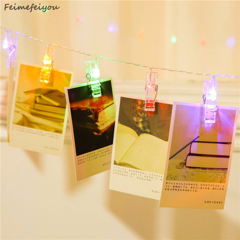 Feimefeiyou 20 LED Lights Creative Lamp Clip Chains Flash Photo Wall Decoration Lamp Birthday Valentine's Day Party Lighting valentine s day heart starlight print tapestry wall hanging decoration