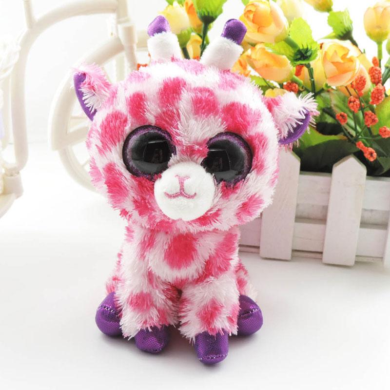 6 Small Cute Big Eyes Giraffe Plush Stuffed Animals Pink Deer Soft