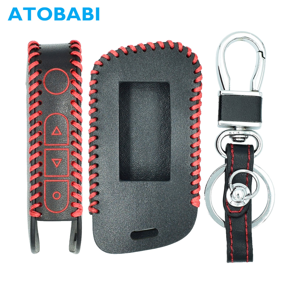 ATOBABI Genuine Leather A93 Car Key Case Cover for Starline A39 A63 Two Way Car Alarm Remote Controller LCD Transmitter KeyChain a93 a96 keychain silicone cover key case for starline a93 two way car alarm remote controller a63 lcd transmitter