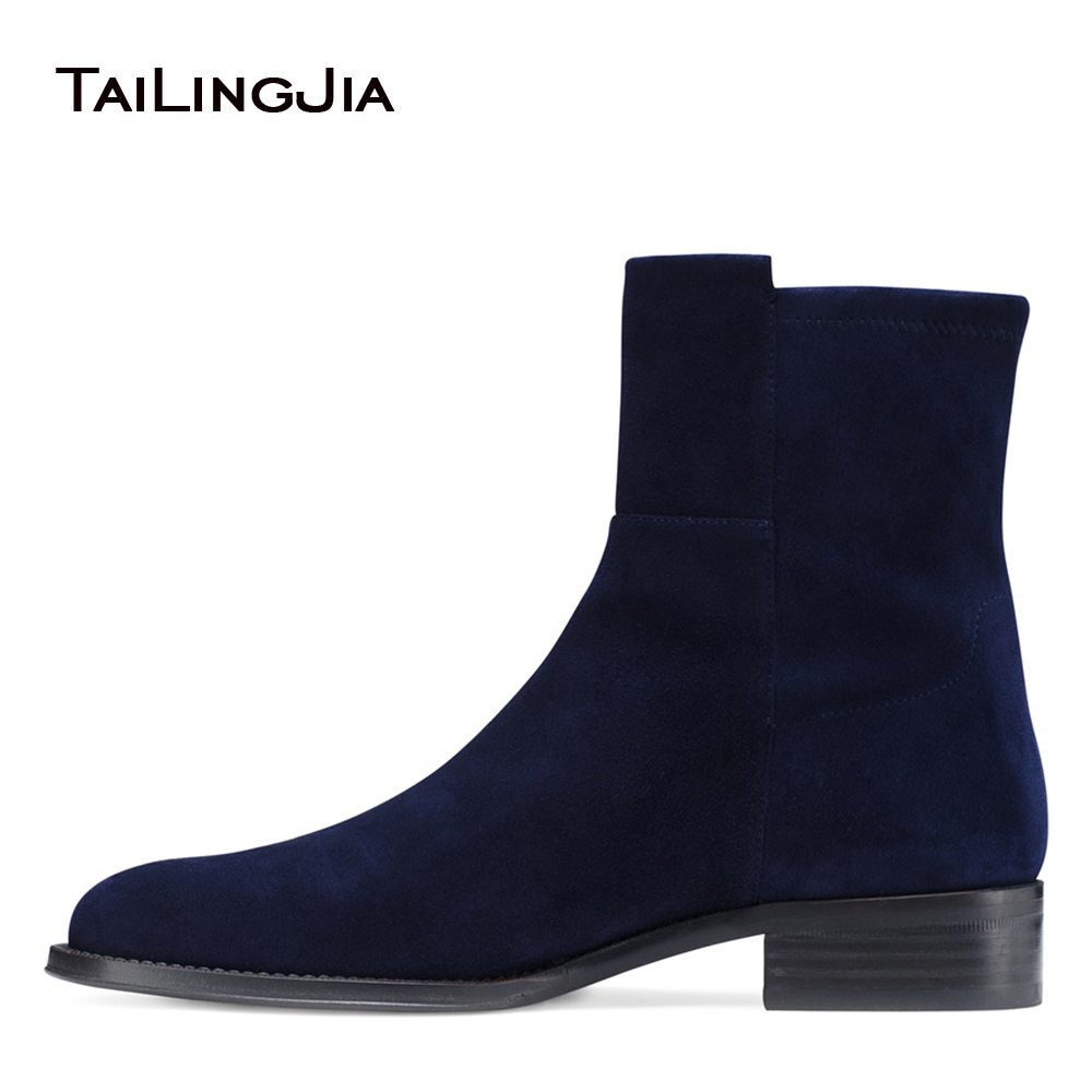 Dark Blue Faux Suede Flat Ankle Boots for Women Black PU Leather Round Toe Block Heel Casual Booties Ladies Slip on Short Boots casual metal and flat heel design short boots for women