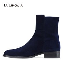 Dark Blue Faux Suede Flat Ankle Boots for Women Black PU Leather Round Toe Block Heel Casual Booties Ladies Slip on Short Boots все цены