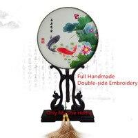 Тонкий круглый декоративный китайский ручной вентилятор женский подарок натуральный шелк тутового шелкопряда вентилятор ручной работы дв