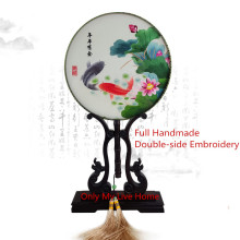 Fine Round Decorative Chinese Hand Fans Women Gift Natural Mulberry Silk Fan Handmade Double Embroidery Ebony Handle