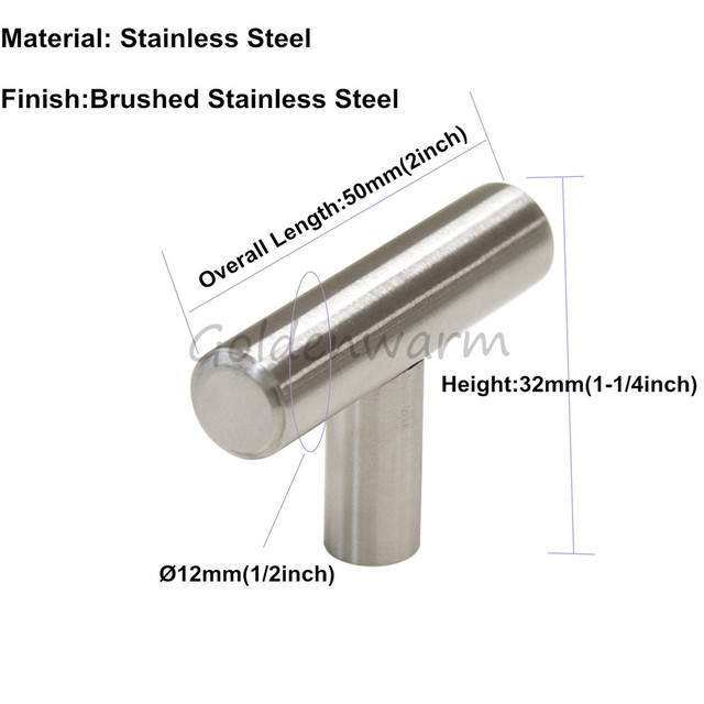 2017 Modern Cabinet Handle Brushed Stainless Steel T Bar Single Hole ...