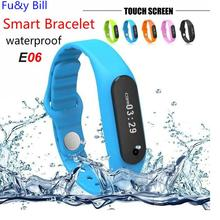 E06 Waterproof Sport Touch Screen Bluetooth Bracelet Smart Watch For IOS Android with Health Sport Fitness Pedometer Clock