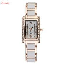 KIMIO марка Девушку часы 2016 Роскошные Женская Мода кристалл браслет кварцевые часы Высокого качества Керамические площади часы для женщин