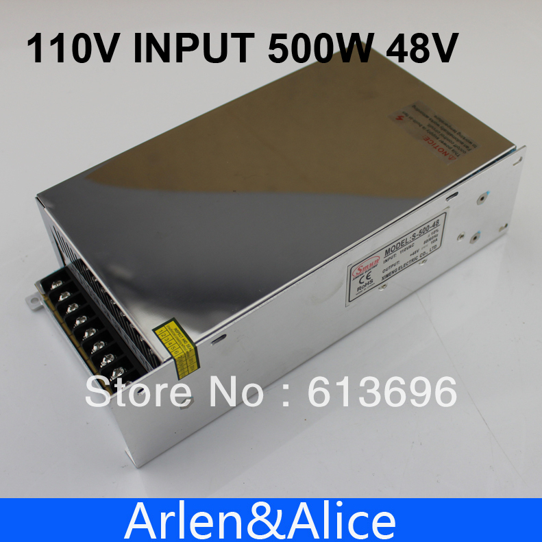 500W 48V 10A 110V INPUT Single Output Switching power supply for LED Strip light AC to DC best quality 12v 15a 180w switching power supply driver for led strip ac 100 240v input to dc 12v
