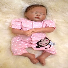 19 inch 49 cm Silicone baby reborn dolls, lifelike doll reborn Cute pink piece of clothing to sleep baby
