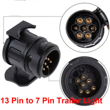 Hiyork Do Promotion Adapter Trailer Electric 13 To 7 Pin Plug Converter Waterproof Socket For Caravan Towbar Accessories Camping 12v 13 to 7 pin trailer truck electric towing converter socket plug adapter electrical converter parts