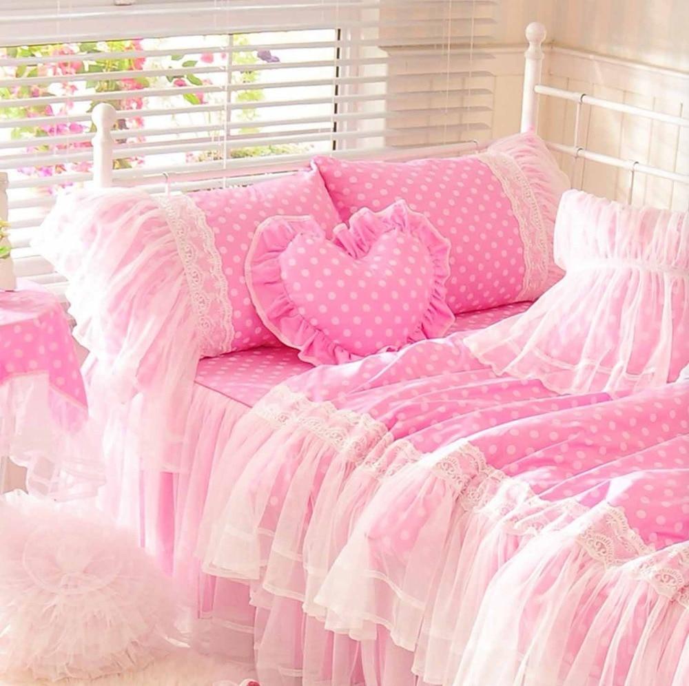 Wedding bed sheet set - Cute Pink Polka Dot Bedding Set Teen Girl Cotton Twin Full Queen King Single Double Home Textile Bedskirt Pillowcase Quilt Cover