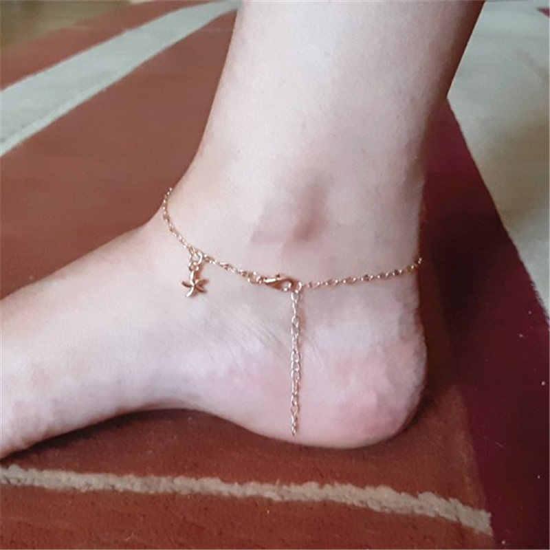 スター女性アンクレット裸足サンダルフットジュエリー脚新アンクレット足足首のブレスレット女性の脚チェーンギフト