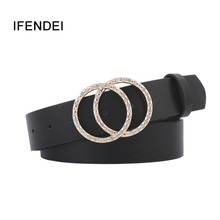 IFENDEI Fashion Women Belts For Womens Jeans Gold Silver Double Buckle  Waist Leather Strap High Quality Designer Belt