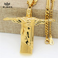 "Stainless Steel Gold Christ The Redeemer Cross Pendant Brazil Rio De Janeiro Statue Jesus Piece with 27.5"" Cuban Chain Necklace"