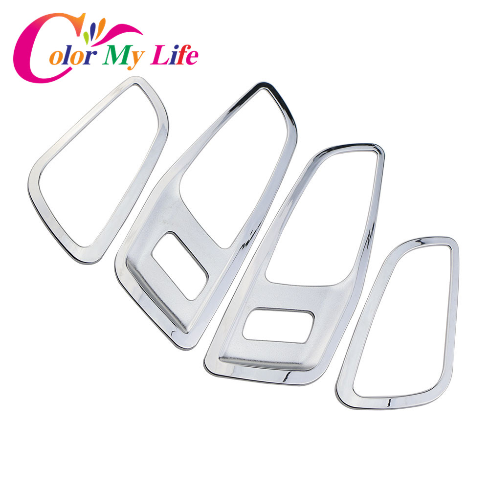 Color My Life ABS Chrome Inner Door Handle Decorative Sequins Armrest Decoration Stickers Trim for Ford Kuga Escape 2014 - 2017