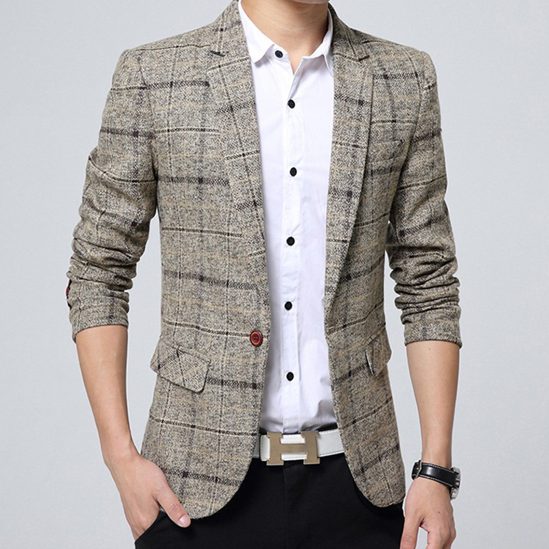 Mens Blazer Jacket Classic Plaid Blazers Men Suits Casual Stripe Lattice Blazer Masculino Slim Fit Coat Veste Costume Homme