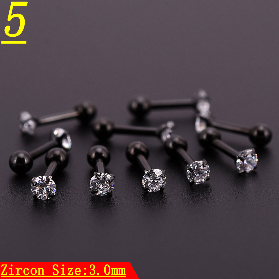 20pcs Black Zircon Crystal Heart Round Ball Tongue Lip Bar Ring Stainless Steel Barbell Ear Stud Body Piercing Jewelry