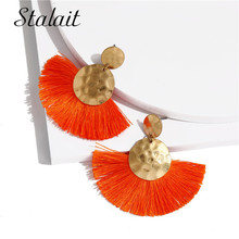 Trendy Dent Round Sequins Tassel Earrings Simple Gold Color Sector Fringe For Women Wedding Jewelry
