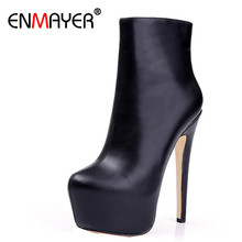 ENMAYER Shoes Woman Supper High Heels Ankle Boots for Women Winter Boots Plus Size 35-46 Zippers Motorcycle Boots Round Toe enmayer black motorcycle boots shoes woman square heels round toe lace up spring and autumn high quality ankle boots for women