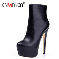 ENMAYER Shoes Woman Supper High Heels Ankle Boots For Women Winter Boots Plus Size 35 46