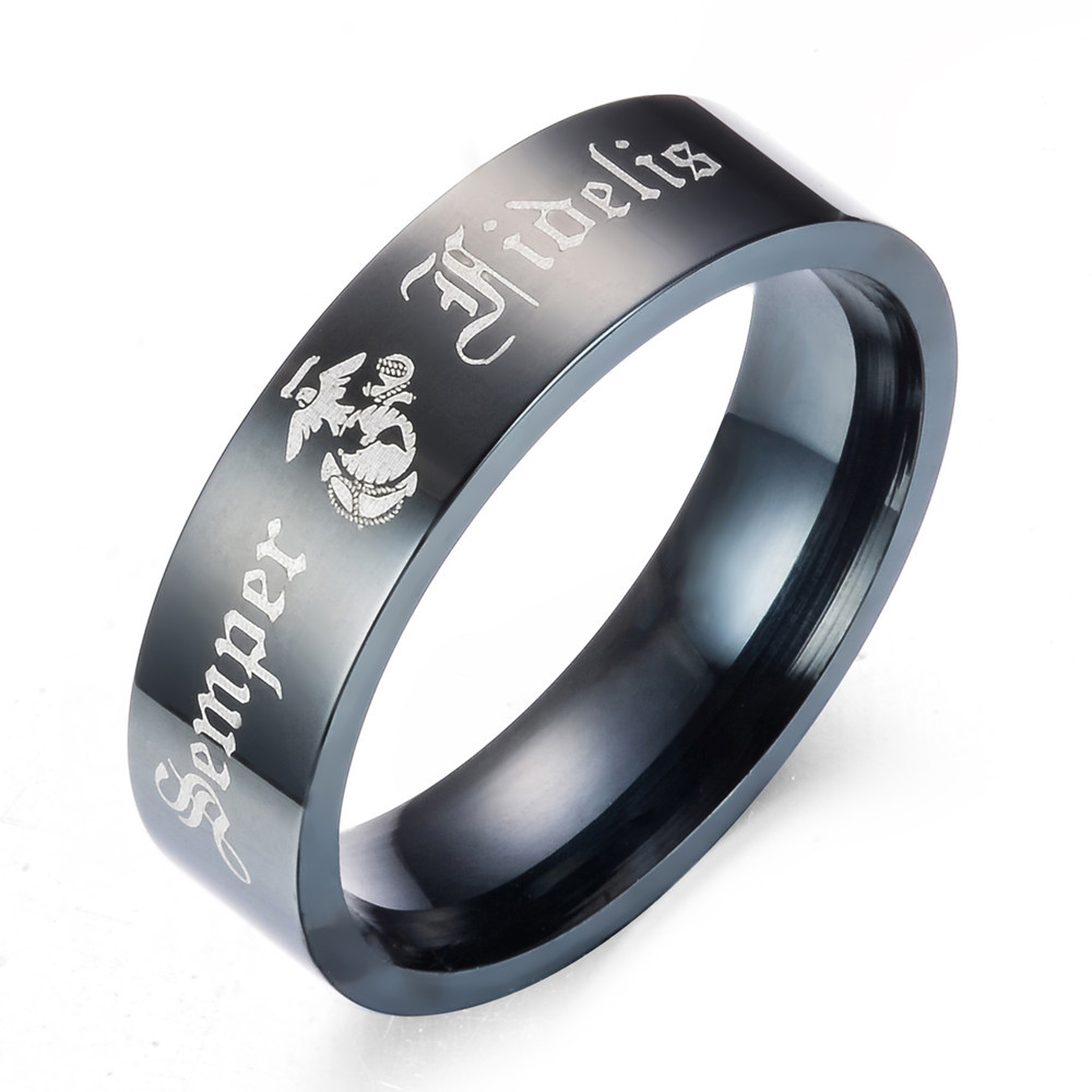 8MM Black Pipe Army <font><b>Ring</b></font> <font><b>USMC</b></font> Design Men's stainless steel Comfort Fit <font><b>Ring</b></font> image