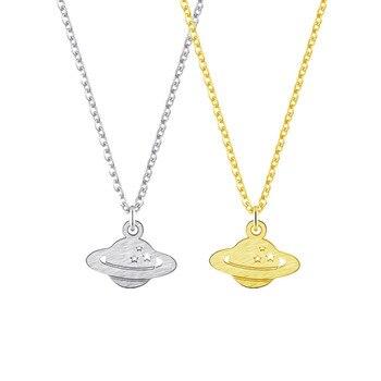 10 sztuk śmieszne biżuteria Dainty Saturn naszyjnik dla kobiet ze stali nierdzewnej długi choker łańcuszek prosta gwiazda wisiorek Bff codziennego noszenia