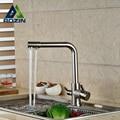 Níquel escovado Dupla Saída De Água Da Cozinha Torneira Da Pia Dupla Handle Deck Montado Torneiras Misturadoras de Água Pura