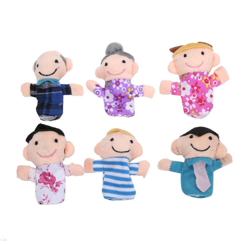 6Pcs Family Finger Puppets Cloth Doll Baby Educational Toy Finger Plush toy Stuffed Finger Toys for Baby Kids Children