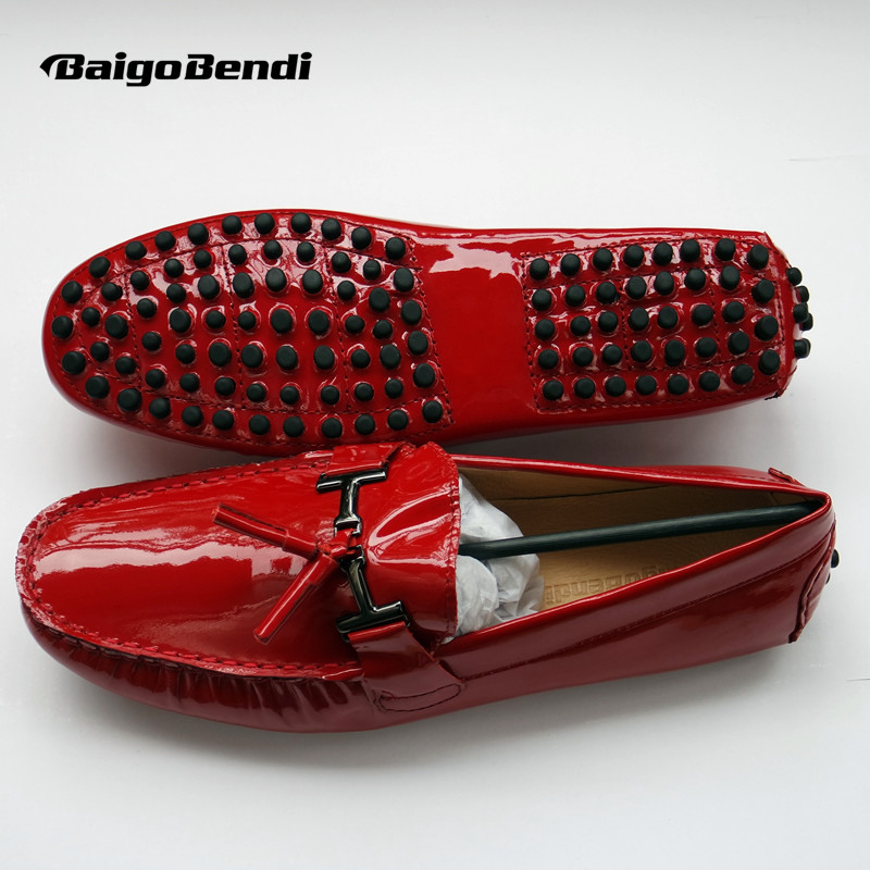 Mens Genuine Leather Red Patent Leather Loafer Shoes Slip on Tassel Driving Shoes Big Size 11 12 45 46 Casual Men Shoes
