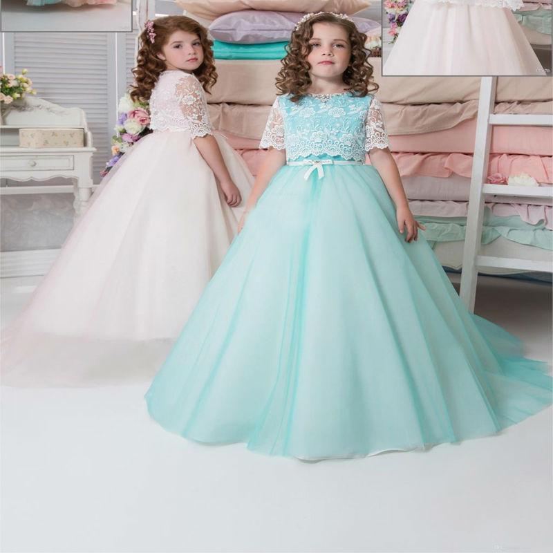 Здесь можно купить   Sleeveless vestidos de primera comunion Lace Mother Daughter Dresses with Waistcoat Ankle-Length Turquoise Dresses for Girls  Детские товары