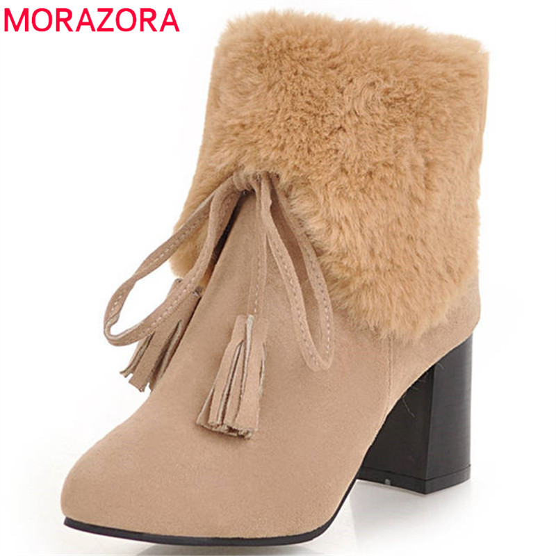MORAZORA 2018 big size 34-48 ankle boots for women simple zipper round toe boots warm winter boots high heels shoes woman enmayer shoes woman supper high heels ankle boots for women winter boots plus size 35 46 zippers motorcycle boots round toe