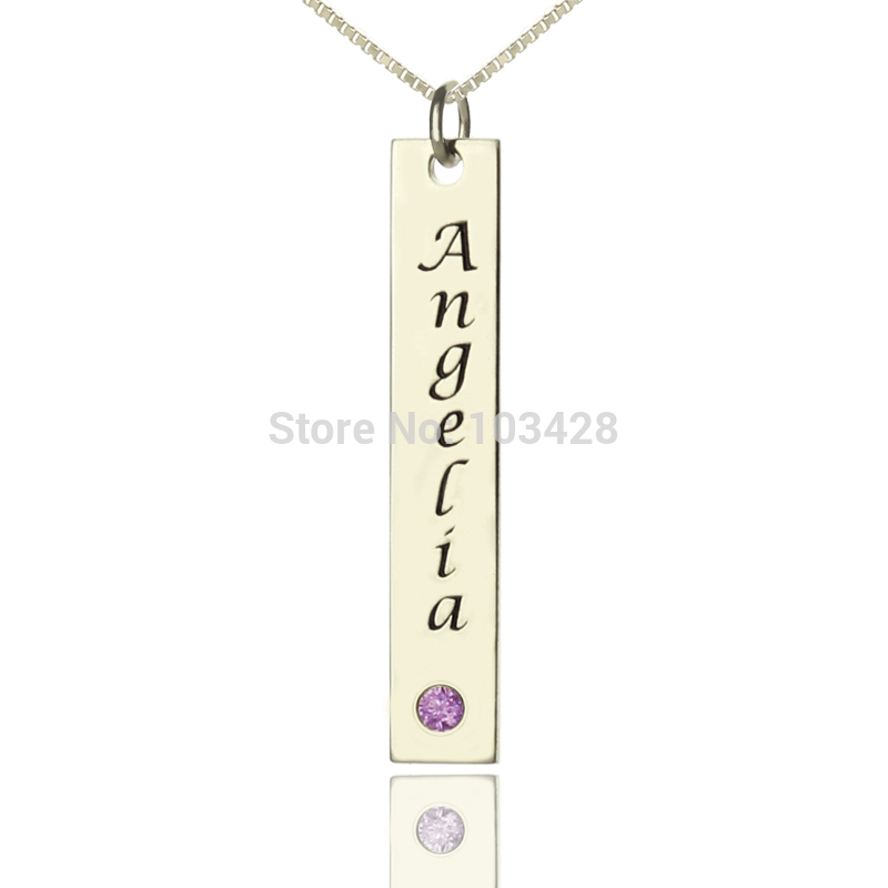 AILIN Personalized Name Bar Necklace Sterling Silver Birthstone Bar Necklace Love My Engraved Nameplate Necklace Birthday Gift цена и фото