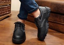 Men's metal toe security footwear black waterproof leather-based footwear