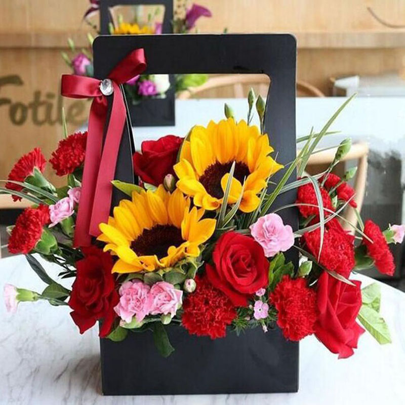 Brief style handheld paper flower basket flower bouquet package gift brief style handheld paper flower basket flower bouquet package gift box floral diy arrangement holder florist supplies za3211 in gift bags wrapping mightylinksfo