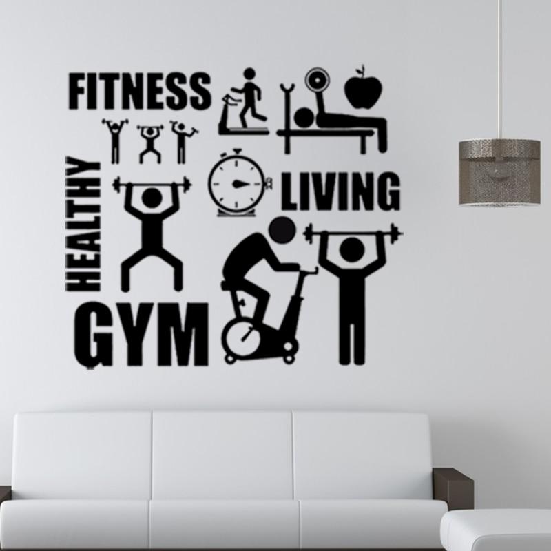 vysoce kvalitní FITNESS zdravá nástěnná nálepka GYM sportovní nálepka pro chlapcovu místnost kreativní nástěnná malba domácí obtisk