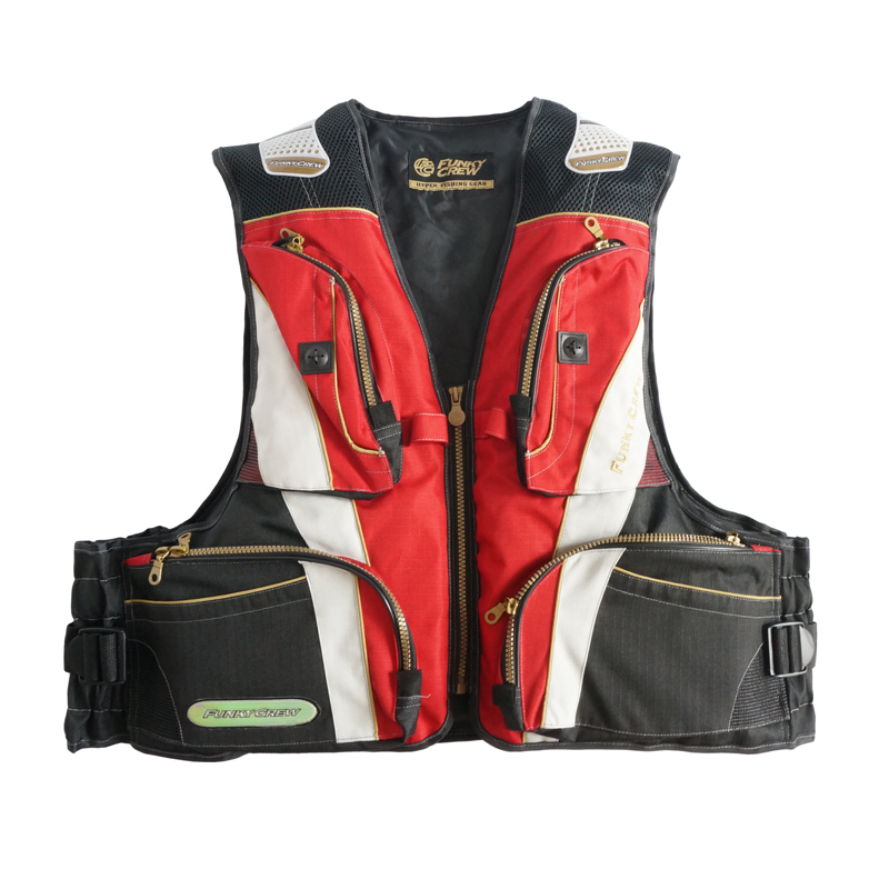 ФОТО 2015 Free Shipping Fishing Vests Red and Black Patchwork Mesh Breathable Fishing Vest  Plus Size Waterproof Vests XIYAN022