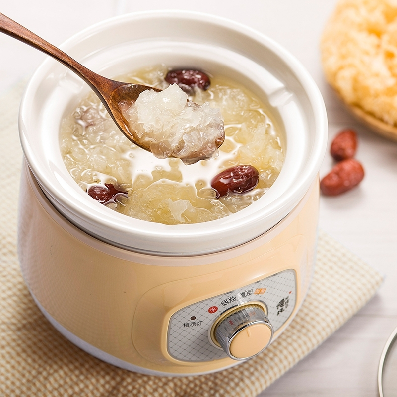 Bear Ddg-d10g1 Electric Slow Cooker White Porcelain 100w Mini Fully Automatic Baby Soup Pot Bird's Nest Stew Pot Light Yellow bear ddz b12d1 electric cooker waterproof ceramics electric stew pot stainless steel porridge pot soup stainless steel cook stew