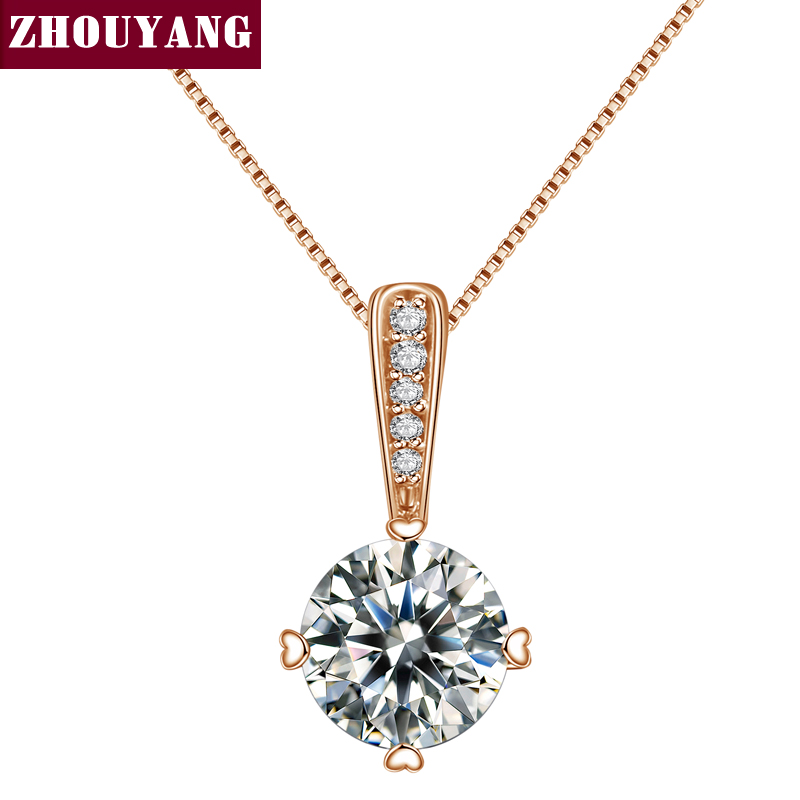Top Quality Classic Simplicity Zircon Rose Gold Color Fashion Pendant Neclace N426 N427 ...