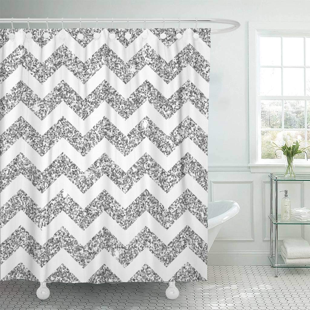 Us 15 73 41 Off Fabric Shower Curtain Hooks Gray Abstract Bright Chevron Silver Brilliant Celebration Confetti Dust Glamour Glow In Shower Curtains