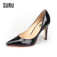 SURU Large Big Size High Heels Women Sexy Pointed Toe 10cm Stilettos Pumps Plus Size 40