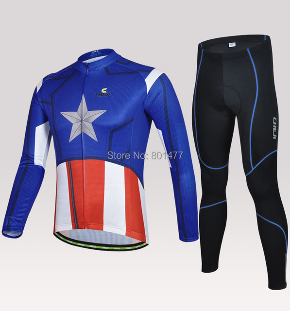 Men Cycling Riding Bicycle Long Sleeve Sport Suit Set Captain