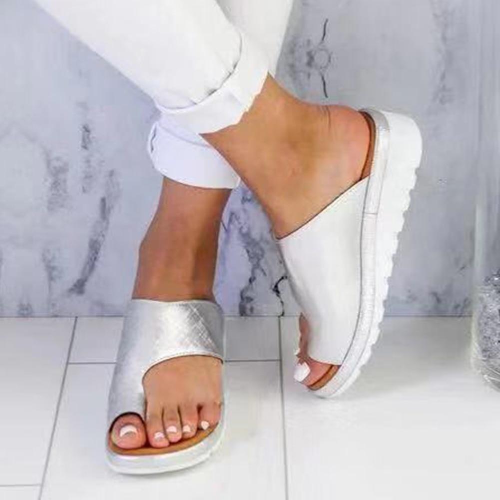 Frauen Pu Leder Schuhe Bequeme Plattform Flache Sohle Damen Casual Weiche Big Toe Fuß Korrektur Sandale Orthopädische Bunion Corrector Mit Dem Besten Service Sport & Unterhaltung Toning-schuh