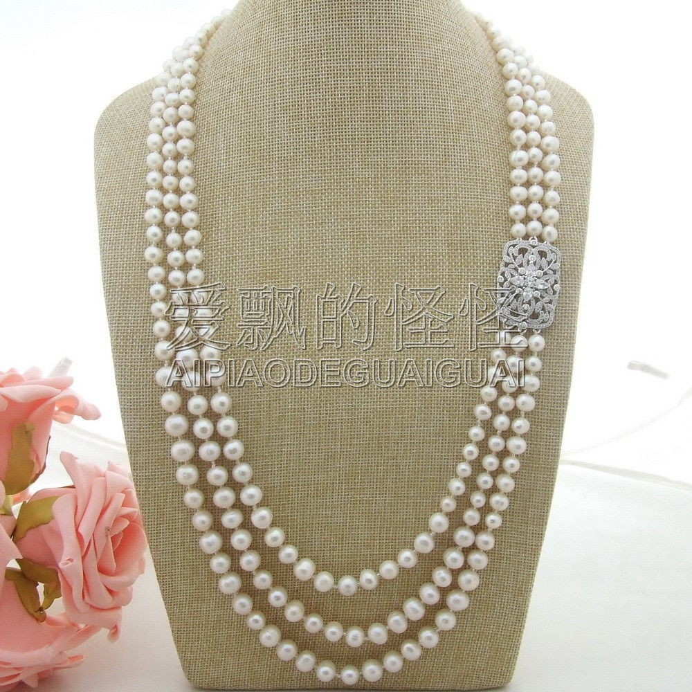 """28/"""" White Pearl Trimmed Macarsite Crystal Chain Necklace"""
