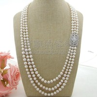N041412 28'' 32'' 3 Strands White Pearl CZ Connector Necklace