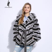 Casual 2018 Winter fur coat Fashion rabbit rex Solid real O-Neck