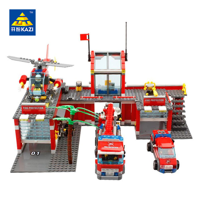 KAZI 8051 Building Blocks Fire Station Model Building Blocks 774+pcs Bricks Block ABS Plastic Educational Toys For Children kazi fire rescue airplane action model building block set brick classic collectible creative educational toys for children