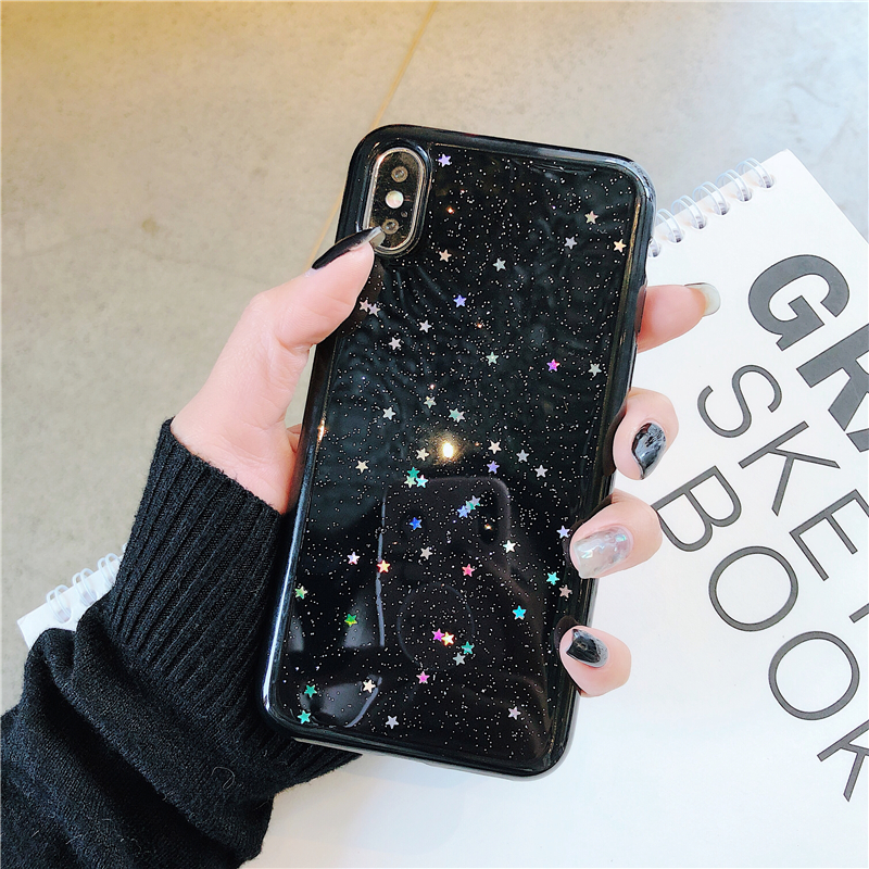 HTB1Z29FR8LoK1RjSZFuq6xn0XXai - GIMFUN Star Bling Glitter Phone Case for Iphone 11 Pro Max Clear Back Love Heart tpu Case Cover for Iphone Xr X 7 6 8 Plus 5s SE